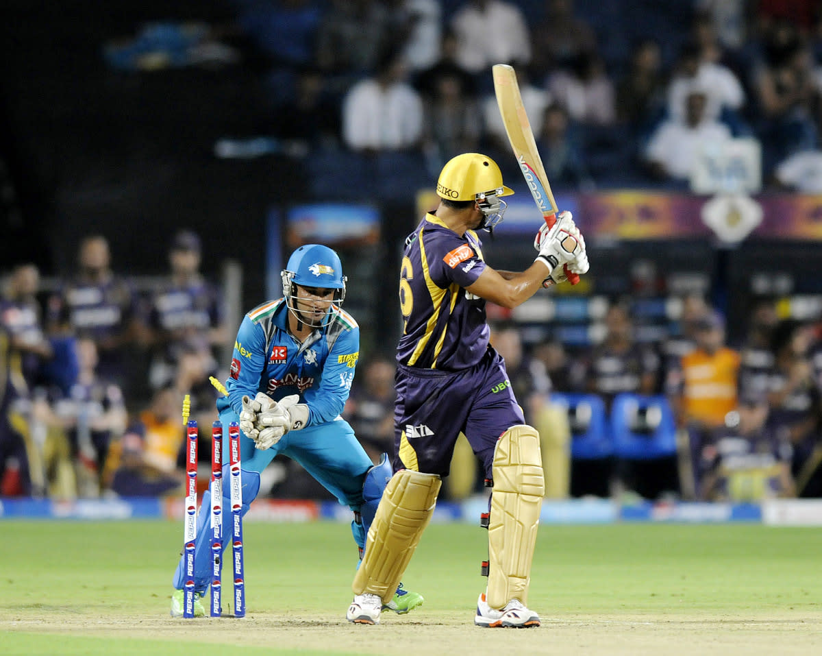 Mahesh Rawat of Pune Warriors gets Manvinder Bisla of Kolkata Knight Riders stumped out during match 56 of the Pepsi Indian Premier League ( IPL) 2013  between The Pune Warriors India and the Kolkata Knight Riders held at the Subrata Roy Sahara Stadium, Pune on the 9th May 2013. (BCCI)