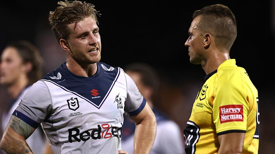 Cameron Munster faces a battle to be fit for the Storm's NRL finals clash against Manly. (Photo by Cameron Spencer/Getty Images)