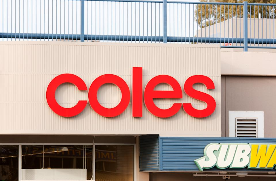 Adelaide, Australia - May 9, 2011: Coles Supermarket sign on a store in Australia. Coles is one of Australia's leading supermarket chains, operating for more than 50 years.