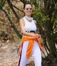 <p>Alessandra Ambrósio adds a pop of color to her ensemble during a hike in Los Angeles on Wednesday. </p>