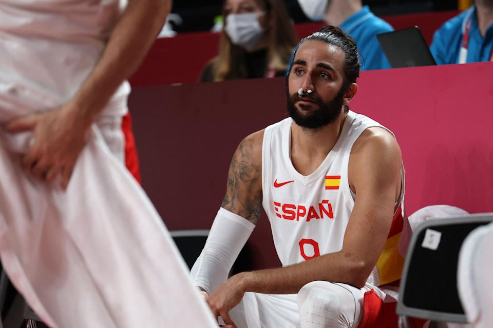 Spain's Ricky Rubio takes a break in the men's preliminary round group C basketball match between Spain and Argentina during the Tokyo 2020 Olympic Games at the Saitama Super Arena in Saitama on July 29, 2021. (Photo by Thomas COEX / AFP) (Photo by THOMAS COEX/AFP via Getty Images)