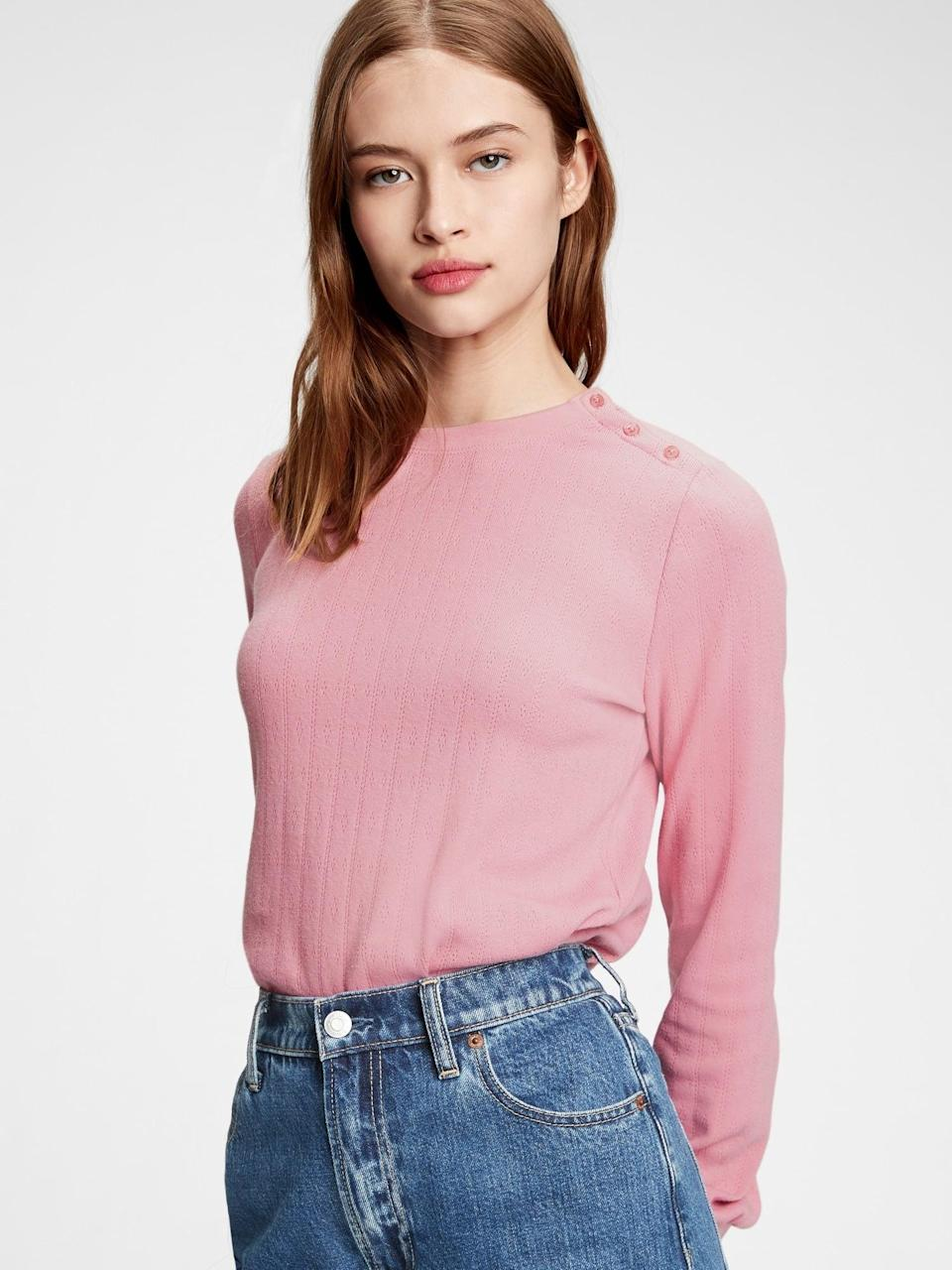 <p>Up your long sleeve t-shirt game to something more romantic with this <span>Gap Pointelle Crewneck T-Shirt</span> ($29, originally $50).</p>