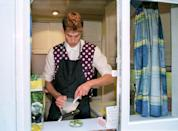 <p>He even wears an apron to keep that polka dot vest spotless. <br></p>