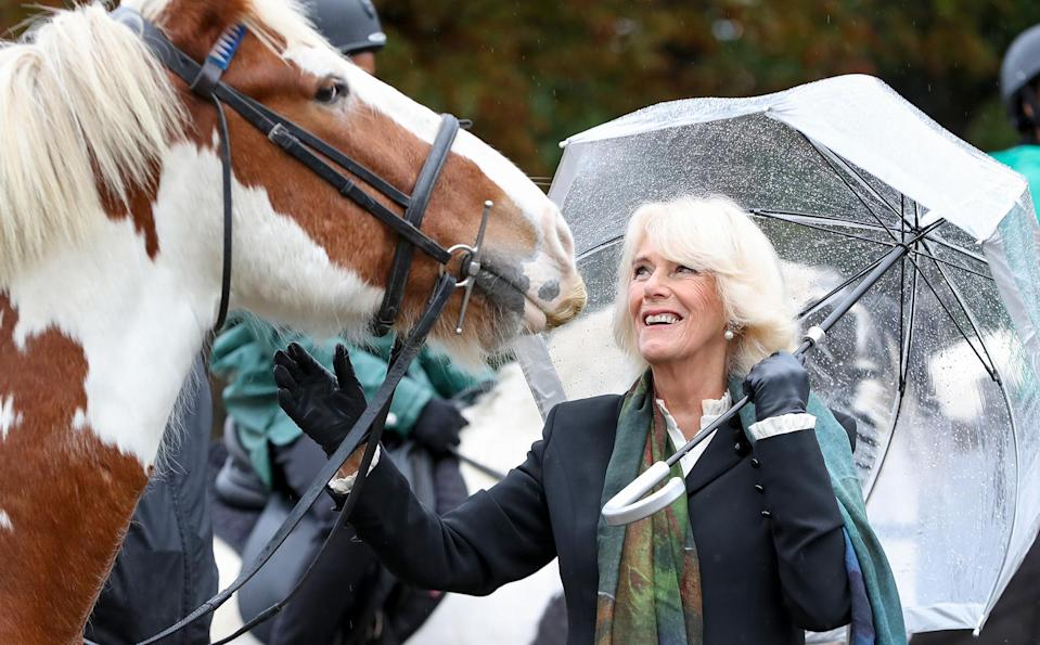 <p>Camilla, Duchess of Cornwall met with students (and horses!) at the Ebony Horse Club in London on Tuesday. </p>
