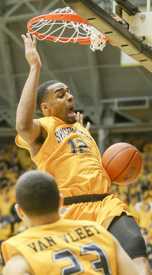 Wichita State's Darius Carter dunks the ball against Drake in the second half at Koch Arena Saturday Feb. 22, 2014. in Wichita, Kan. (AP Photo/The Wichita Eagle, Fernando Salazar) LOCAL TV OUT; MAGS OUT; LOCAL RADIO OUT; LOCAL INTERNET OUT