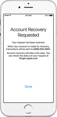 AppleID account recovery requested