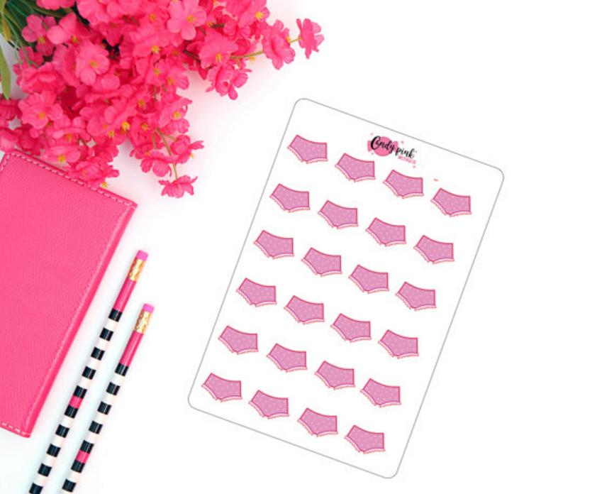 <p>Put these in your diary to remember when you had your period – and when it might be coming (£1.50) [Photo: Etsy/CandyPinkDesigns] </p>