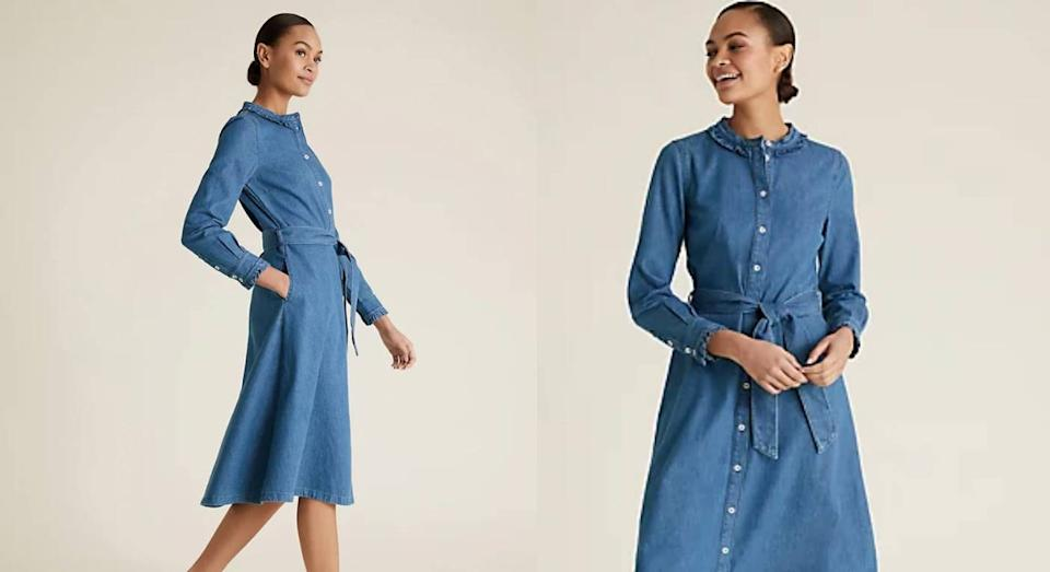 This easy summer throw-on denim dress from M&S is selling fast. (M&S)