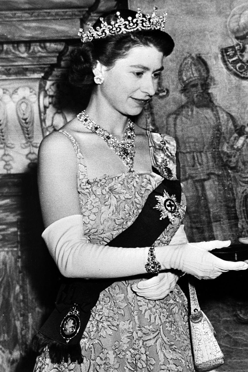 <p>The queen is dripping in diamonds from her tiara to her wrist for a royal event. </p>