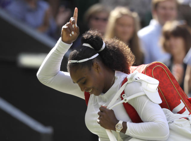 Serena Williams is making a run the 2018 Wimbledon title less than a year after giving birth. (AP Photo)