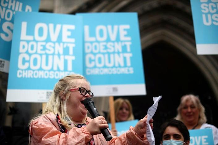 Heidi Crowter speaks outside the High Court in July (REUTERS)