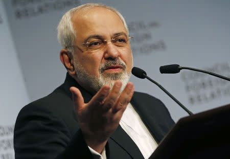 Iranian Foreign Minister Mohammad Javad Zarif addresses the Council on Foreign Relations in New York