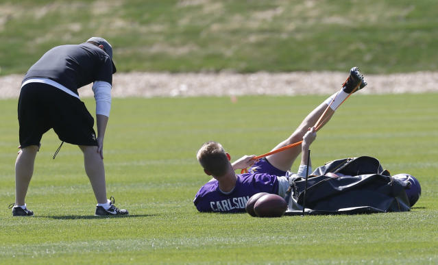 Rookie kicker Daniel Carlson works out during the Minnesota Vikings NFL football rookie minicamp Friday, May 4, 2018, in Eagan, Minn. Of all the players drafted last week by the Vikings, the one most likely to contribute immediately is Carlson. Taken in the fifth round out of Auburn, He will challenge incumbent Kai Forbath for a critical role on a team with championship aspiration. (AP Photo/Jim Mone)