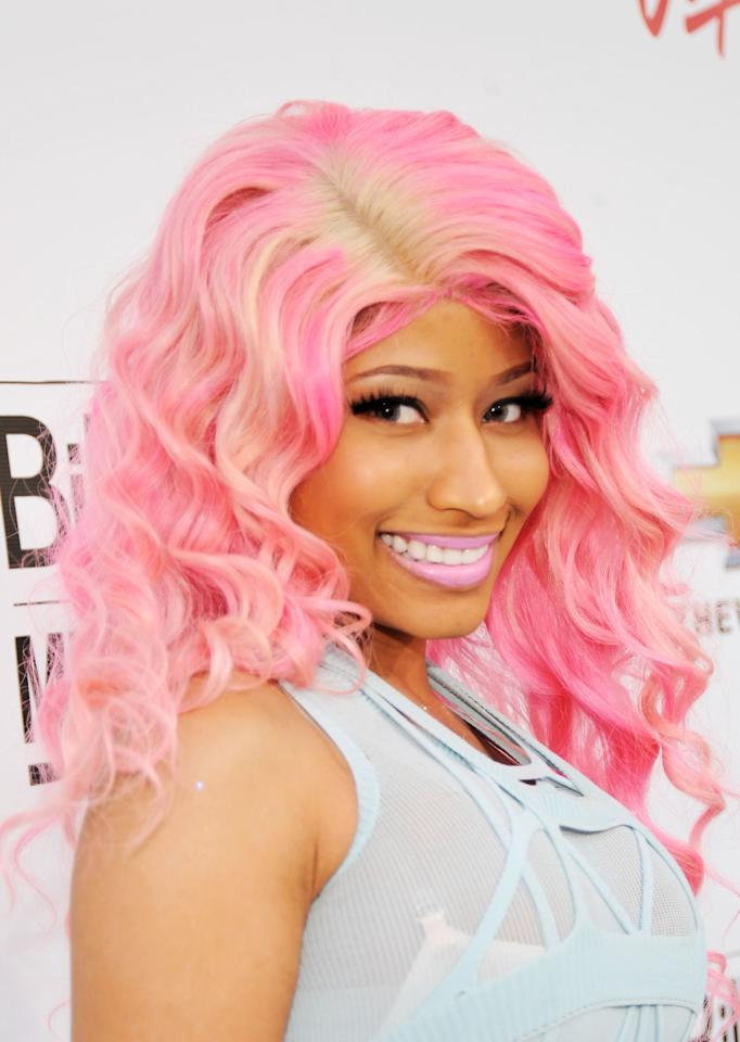 """<p>The queen and our <a rel=""""nofollow"""" href=""""http://www.marieclaire.com/celebrity/a23019/nicki-minaj-november-2016-cover/"""">latest cover girl</a>, Nicki Minaj, kills it with a bright pink dye job that perfectly accents her bubblegum pink lipstick.</p>"""