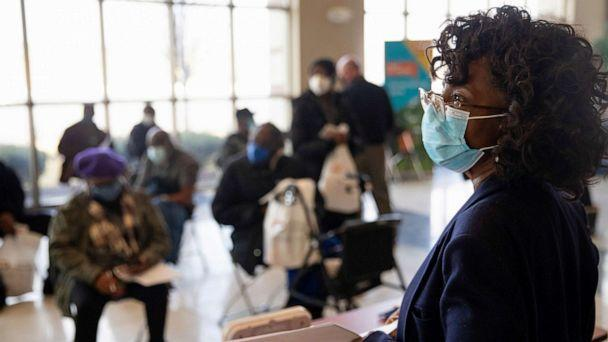 PHOTO: A nurse looks over the observation area as seniors wait after receiving their coronavirus disease (COVID-19) vaccinations at Second Ebenezer Church in Detroit, Feb. 27, 2021. (Emily Elconin/Reuters, FILE)