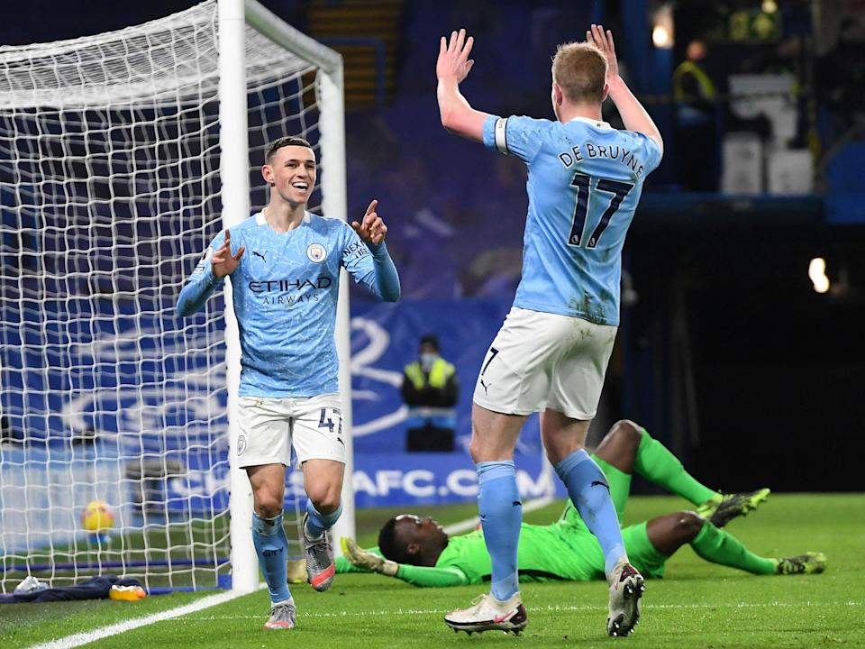 Manchester City pair Phil Foden and Kevin De Bruyne (POOL/AFP via Getty Images)