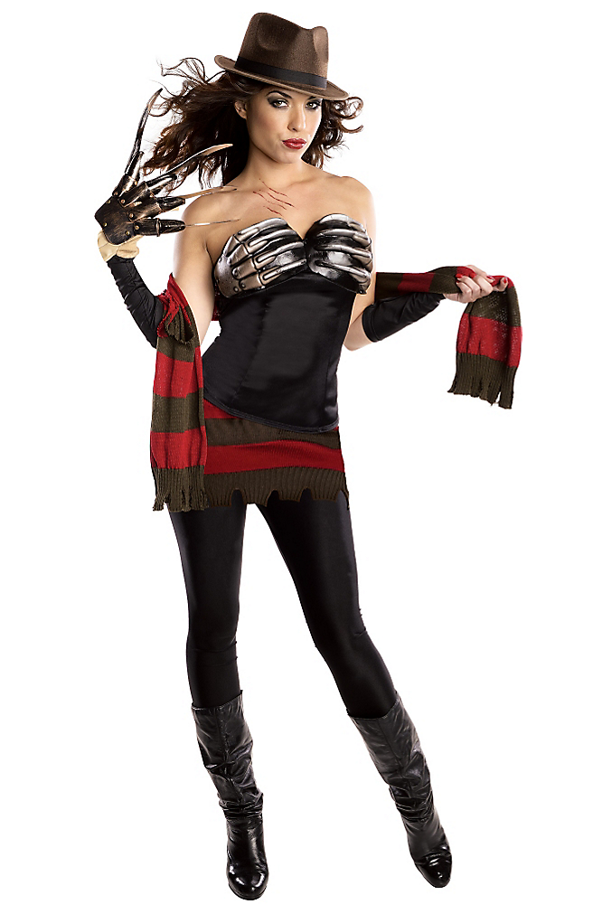 """<p>This costume is more confusing than upsetting. So, Freddy is using his own clawed hands on his, uh, bosom? And his iconic striped sweater has been reduced to a <a rel=""""nofollow noopener"""" href=""""http://www.partycity.com/product/adult+corset+freddy+krueger+costume+nightmare+on+elm+street.do?sortby=ourPicks&page=3&navSet=110777"""" target=""""_blank"""" data-ylk=""""slk:barely there skirt and scarf"""" class=""""link rapid-noclick-resp"""">barely there skirt and scarf</a>? The horror!<br>(Photo: Partycity.com) </p>"""
