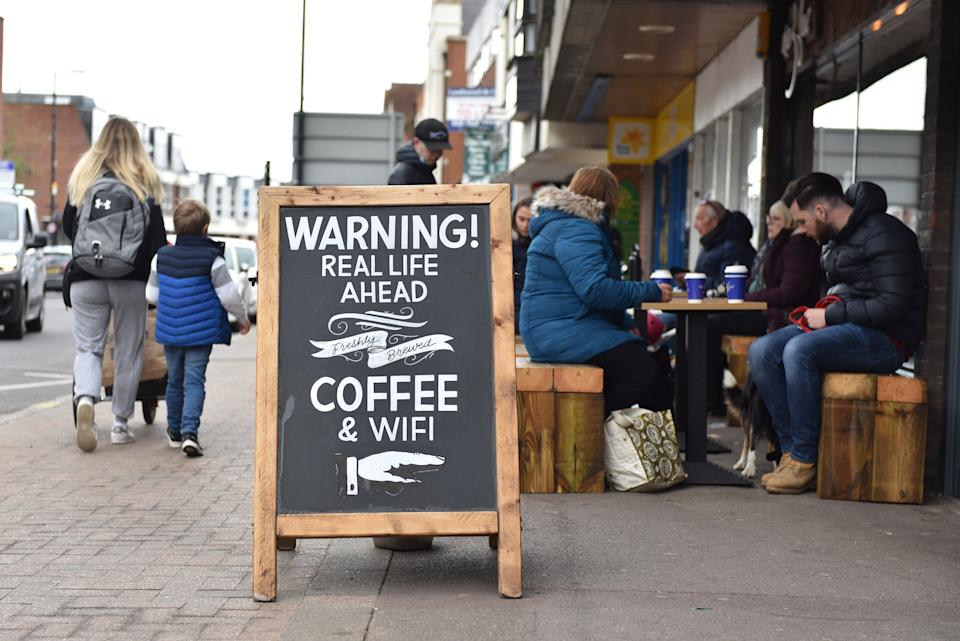 BILLERICAY, ENGLAND - APRIL 15: A sign outside a coffee shop saying