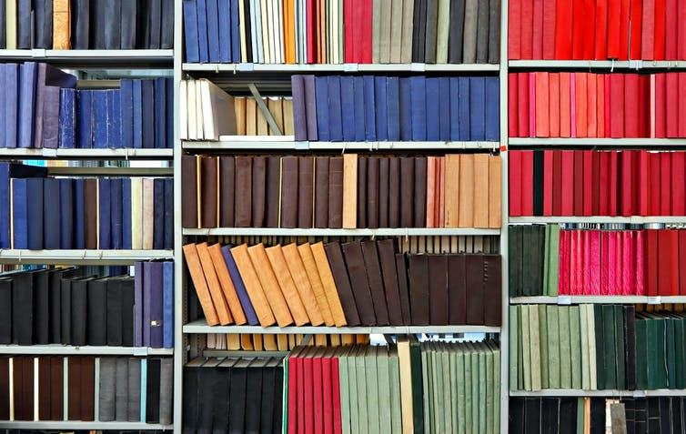 Shelves of journals in a library.