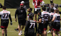 Atlanta Falcons head coach Arthur Smith yells to the team during an NFL football rookie minicamp on Friday, May 14, 2021, in Flowery Branch, Ga. (AP Photo/Brynn Anderson)