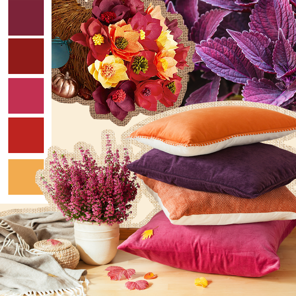 "<p>Fall invites all sorts of lovely colors on the spectrum of red to purple. Magentas, burgundies, plums and mauves all get their chance to shine, and they happen to look great together. </p><p><em><a href=""https://www.womansday.com/home/decorating/g1972/last-minute-thanksgiving-decorations"" rel=""nofollow noopener"" target=""_blank"" data-ylk=""slk:See more at Woman's Day »"" class=""link rapid-noclick-resp"">See more at Woman's Day »</a></em></p>"