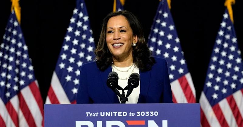 <p>Sen. Kamala Harris, D-Calif., speaks after Democratic presidential candidate former Vice President Joe Biden introduced her as his running mate during a campaign event at Alexis Dupont High School in Wilmington, Del., Wednesday, Aug. 12, 2020. (AP Photo/Carolyn Kaster)</p>