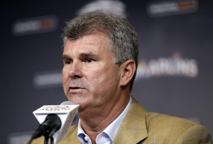 Miami Marlins new general manager Dan Jennings speaks during a news conference.