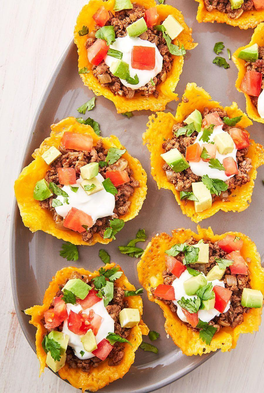 """<p><a href=""""https://www.delish.com/uk/cooking/recipes/a30291829/keto-taco-casserole-recipe/"""" rel=""""nofollow noopener"""" target=""""_blank"""" data-ylk=""""slk:Taco"""" class=""""link rapid-noclick-resp"""">Taco</a> shells made out of cheese is the ultimate Keto hack. These cups are so easy to make! </p><p>Get the <a href=""""https://www.delish.com/uk/cooking/recipes/a30712335/keto-taco-cups-recipe/"""" rel=""""nofollow noopener"""" target=""""_blank"""" data-ylk=""""slk:Keto Taco Cups"""" class=""""link rapid-noclick-resp"""">Keto Taco Cups</a> recipe.</p>"""