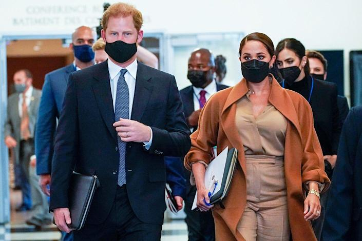 Prince Harry and Meghan, the Duke and Duchess of Sussex are escorted as they leave the United Nations headquarters after a visit during 76th session of the United Nations General Assembly UN General Assembly Royals, United Nations - 25 Sep 2021