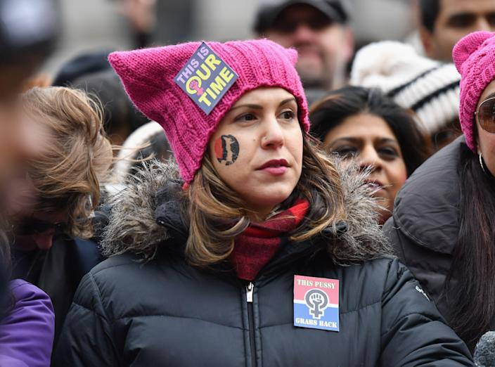 Protesters listen to speakers during the Women's Unity Rally at Foley Square on Jan. 19, 2019 in New York City. (Photo: Angela Weiss/AFP/Getty Images)