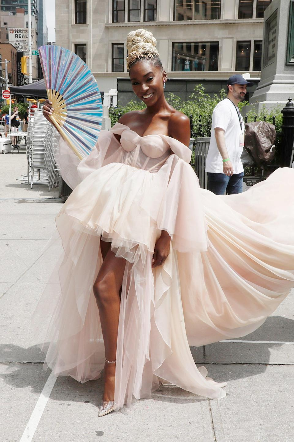 """<em>Pose</em>'s Angelica Ross brought some ball glamour to the streets of Manhattan. <span class=""""copyright"""">Photo: John Lamparski/Getty Images.</span>"""