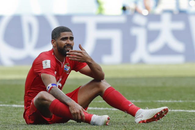 <p>Panama's Gabriel Gomez sits on the pitch during the group G match between England and Panama at the 2018 soccer World Cup at the Nizhny Novgorod Stadium in Nizhny Novgorod , Russia, Sunday, June 24, 2018. (AP Photo/Antonio Calanni) </p>