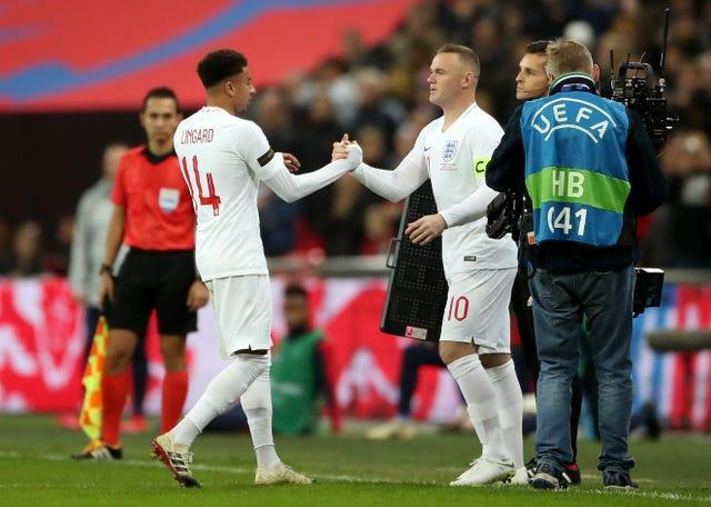 Rooney (right) made his 120th England appearance as a substitute against the United States in November 2018 (Nick Potts/PA).