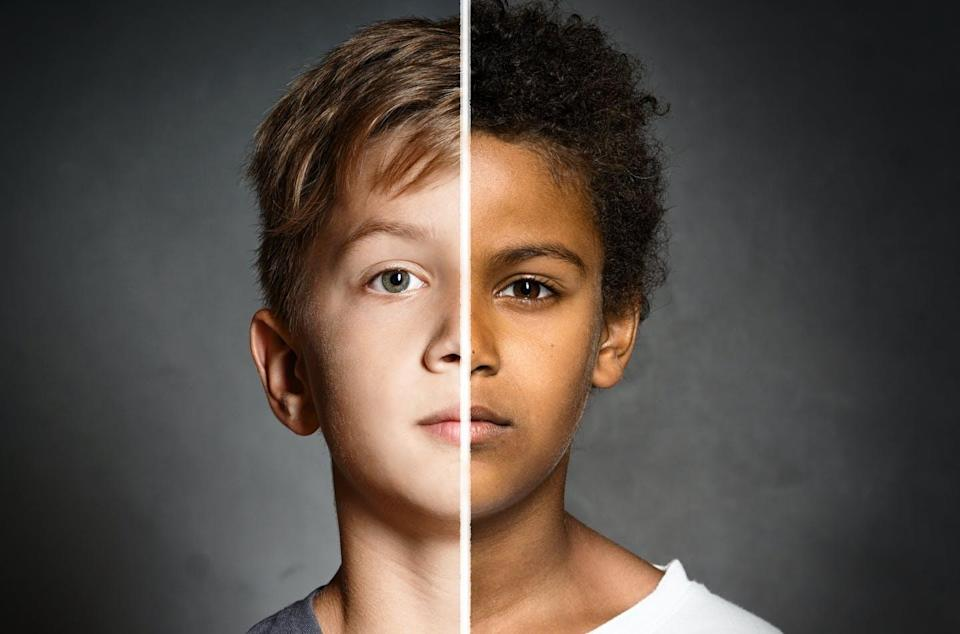 A composite photo of a black child and a white child's face.