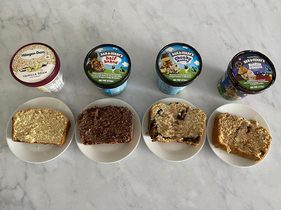 four pints of ice cream lined up in front of four plated slices of ice cream bread, all on a white countertop