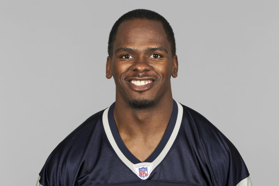 FILE - This is a 2010 file photo of David Patten of the New England Patriots NFL football team. Patten, who caught Tom Brady's first postseason touchdown to help the Patriots win their first Super Bowl, was killed in a motorcycle accident on Thursday night, Sept. 3, 2021, outside of Columbia, S.C., Richard County coroner Naida Rutherford said in a statement. He was 47. Patten played 12 seasons in the NFL after signing as an undrafted free agent with the New York Giants in 1997. (AP Photo/File)