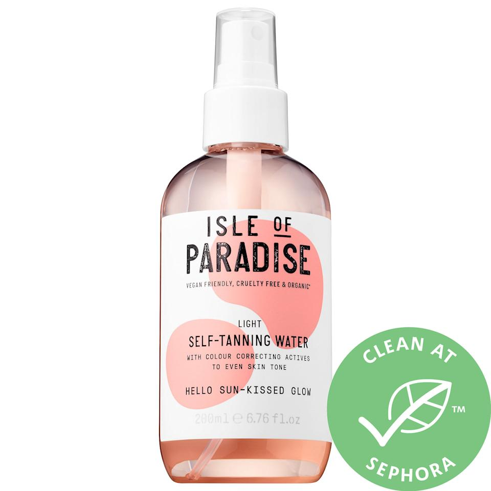 """<p><strong>Isle of Paradise</strong></p><p>sephora.com</p><p><strong>$28.00</strong></p><p><a href=""""https://go.redirectingat.com?id=74968X1596630&url=https%3A%2F%2Fwww.sephora.com%2Fproduct%2Fself-tanning-water-P431181&sref=http%3A%2F%2Fwww.marieclaire.com%2Fbeauty%2Fmakeup%2Fg1794%2Fbest-self-tanners%2F"""" target=""""_blank"""">SHOP IT  </a></p><p>This user-friendly spray pump makes the applying this feel like a breeze. Expect a glowy tan to appear four to six hours afterwards. Even better? Brighter skin. This organic blend is formulated with<strong> color-correcting actives that are clinically proven to even your skin tone. </strong>Nothing's worse than a spotty tan—you'll never have to worry about missing a spot with this. </p><p><strong>HOT TIP:</strong> Exfoliate your skin thoroughly before spritzing yourself to ensure all rough patches are gone. For a really good glow, completely saturate your skin with this mist and blend with a tanning mitt. </p>"""