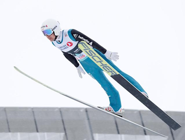 FIS Ski Jumping World Cup - Men's HS134 - Oslo, Norway - March 11, 2018. Simon Ammann of Switzerland competes. NTB Scanpix/Terje Bendiksby via REUTERS ATTENTION EDITORS - THIS IMAGE WAS PROVIDED BY A THIRD PARTY. NORWAY OUT. NO COMMERCIAL OR EDITORIAL SALES IN NORWAY.