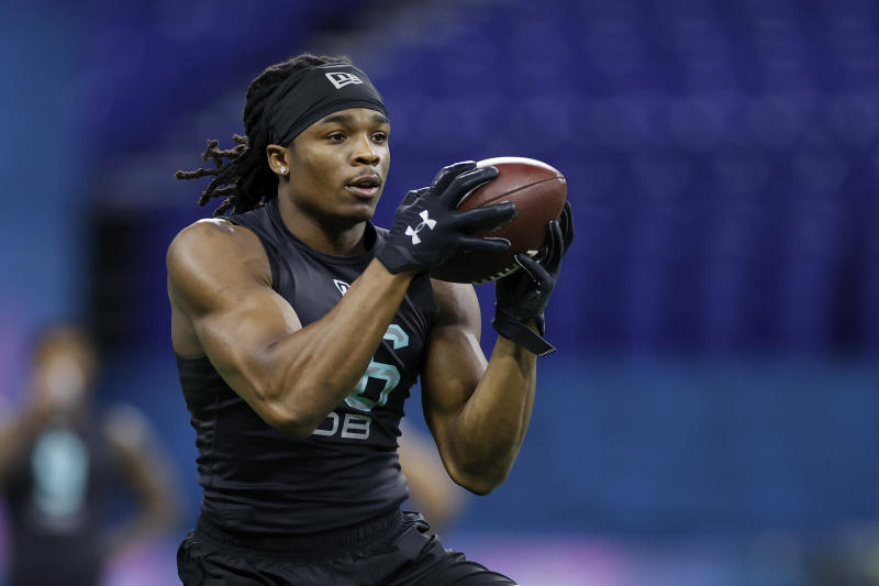 The New England Patriots selected Lenoir-Rhyne safety Kyle Dugger with their first pick of the 2020 NFL draft. (Photo by Joe Robbins/Getty Images)