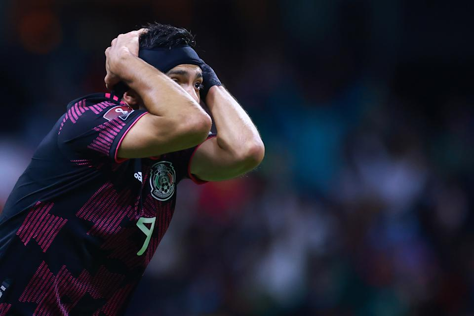 MEXICO CITY, MEXICO - OCTOBER 07: Raúl Jimenez of Mexico reacts during the match between Mexico and Canada as part of the Concacaf 2022 FIFA World Cup Qualifier at Azteca Stadium on October 07, 2021 in Mexico City, Mexico. (Photo by Hector Vivas/Getty Images)