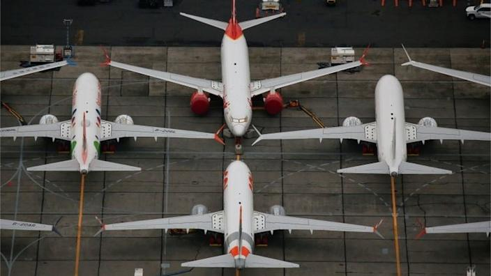Grounded Boeing 737 Max aircraft are seen parked at Boeing facilities at Grant County International Airport in Moses Lake, Washington, US on 17 November, 2020