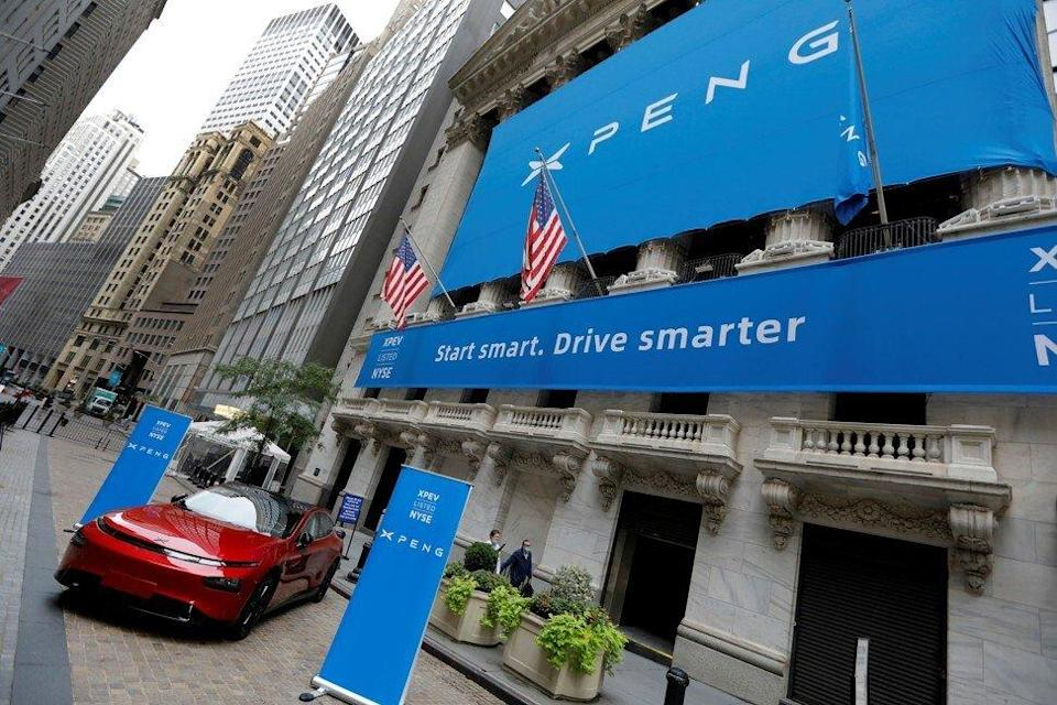 An XPeng P7 performance electric vehicle is seen outside the New York Stock Exchange in August 2020. Photo: Reuters
