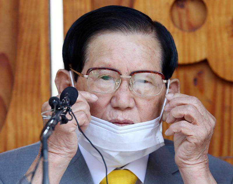 Lee Man-hee, chairman of the Shincheonji Church of Jesus, attends at a press conference in Gapyeong (AP)