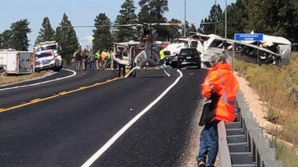 PHOTO: First responders work at the scene where a tour bus crashed near Bryce Canyon National Park on SR-12 in Utah, Sept. 20, 2019. (Dallas Clark/St. George News)