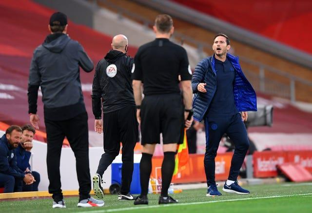 Frank Lampard shouts towards the Liverpool bench