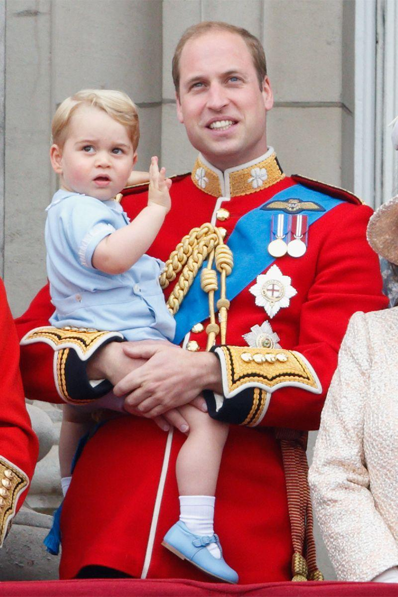 <p>The Duke of Cambridge holds Prince George on the balcony of Buckingham Palace during Queen Elizabeth's annual Trooping the Colour.</p>