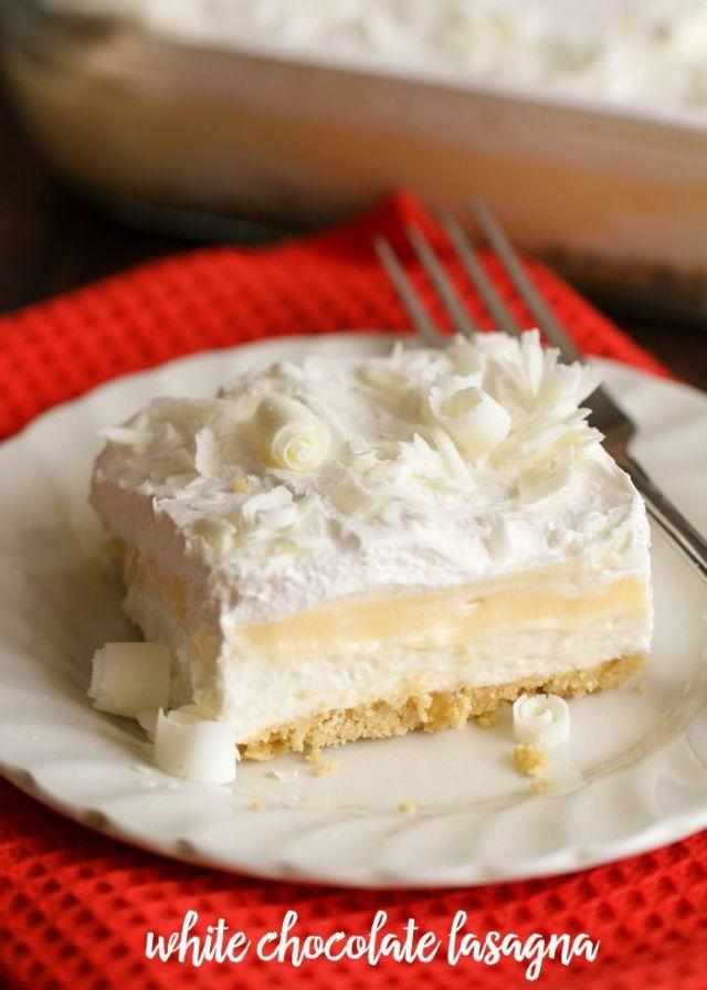"""<p>White chocolate lovers, there's a dessert lasagna out there for you too, and it has a Golden Oreo crust. Get excited.</p><p><a rel=""""nofollow"""" href=""""http://lilluna.com/white-chocolate-lasagna/"""">Get the recipe from Lilluna »</a><br></p>"""