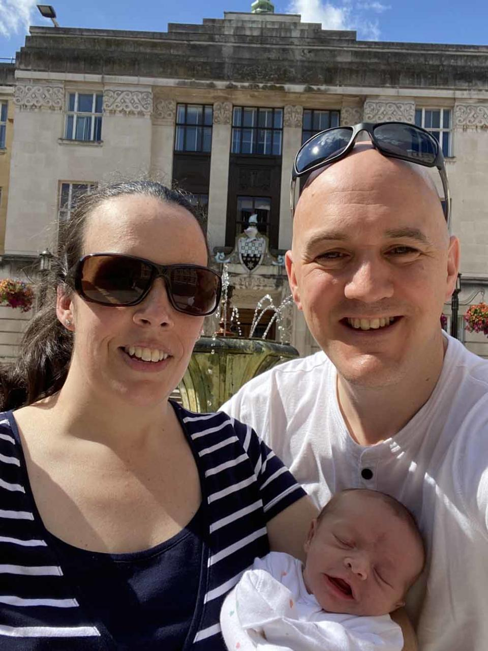 Emma with husband Rob and baby daughter Willow Grace. PA REAL LIFE