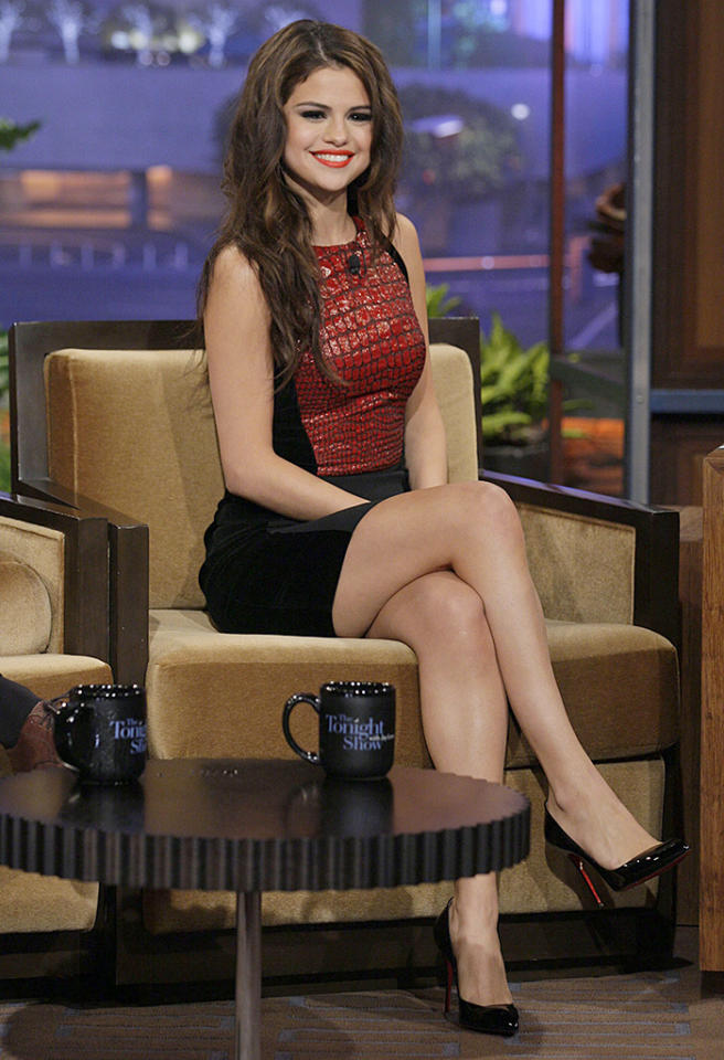 THE TONIGHT SHOW WITH JAY LENO -- Episode 4501 -- Pictured: Singer Selena Gomez during an interview on July 23, 2013 -- (Photo by: Paul Drinkwater/NBC/NBCU Photo Bank via Getty Images)