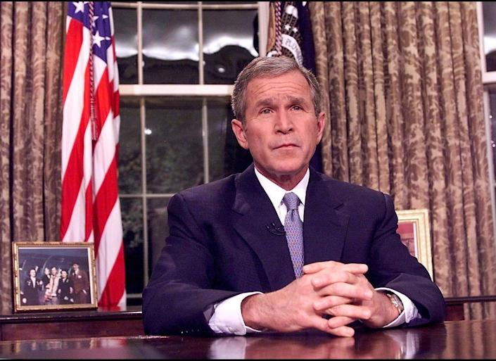 "President Bush gave his final <a href=""http://articles.cnn.com/2001-09-11/us/bush.speech.text_1_attacks-deadly-terrorist-acts-despicable-acts?_s=PM:US"" target=""_hplink"">address</a> of the day from the White House at 8:30 p.m.  From the Oval Office, the president informed Americans that he had implemented federal emergency response plans, noting emergency teams and the military were already at work:  <blockquote>Today, our fellow citizens, our way of life, our very freedom came under attack in a series of deliberate and deadly terrorist acts.<br><br>The victims were in airplanes or in their offices -- secretaries, businessmen and women, military and federal workers. Moms and dads. Friends and neighbors.<br><br>Thousands of lives were suddenly ended by evil, despicable acts of terror.<br><br>The pictures of airplanes flying into buildings, fires burning, huge structures collapsing, have filled us with disbelief, terrible sadness and a quiet, unyielding anger.<br><br>These acts of mass murder were intended to frighten our nation into chaos and retreat. But they have failed. Our country is strong. A great people has been moved to defend a great nation.</blockquote>"